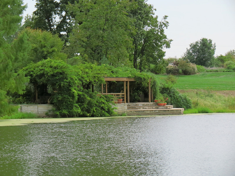 The lakeside veranda on the opposite side of the lake from the Conservatory.