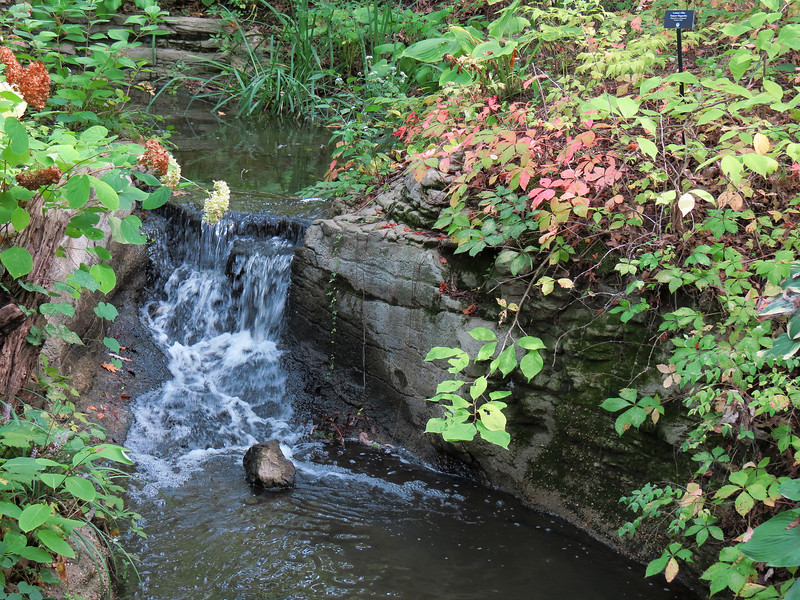 One of the waterfalls in the garden.