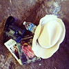 Globe/T. Rob Brown<br /> The tools of the trip for a journey through Prairie State Park near Liberal.