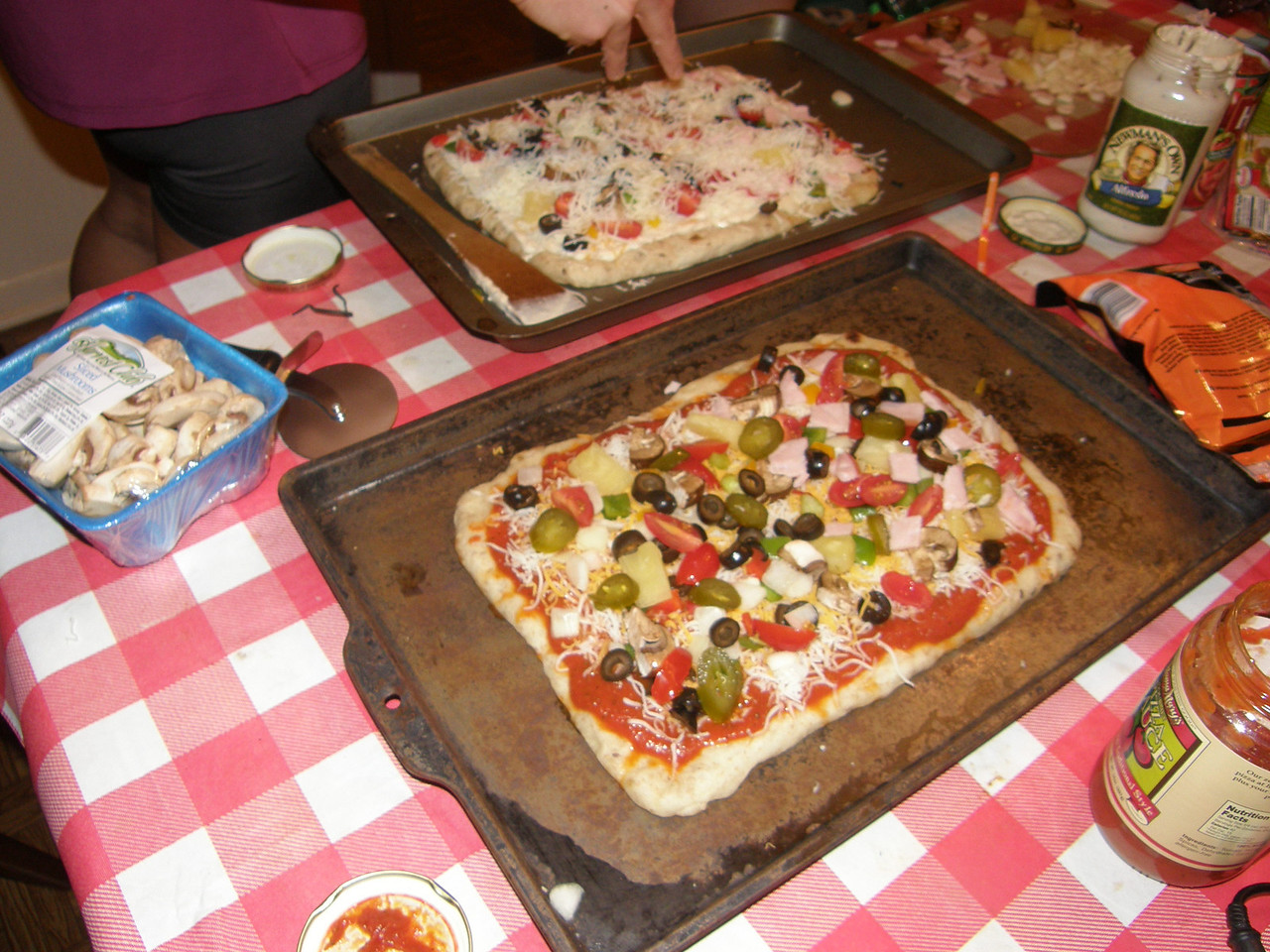 The homemade pizza!  Constructed by Sarah, Katie, and Daddy!  And it was delicious.
