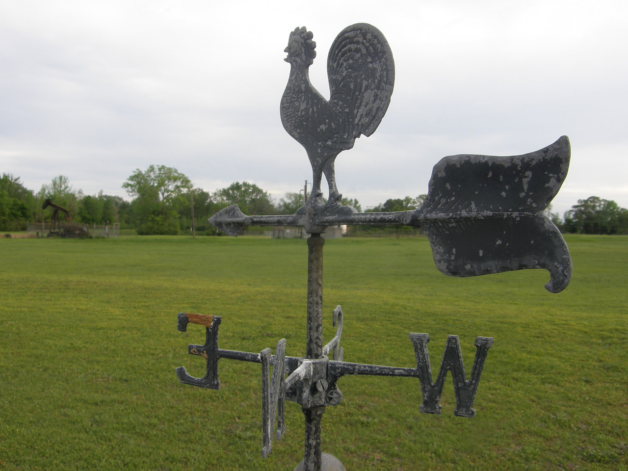 This is a weather vane at the corner of my cousin, Marty's house.  I cut by it all the time while walking, Thought is was kinda cool.