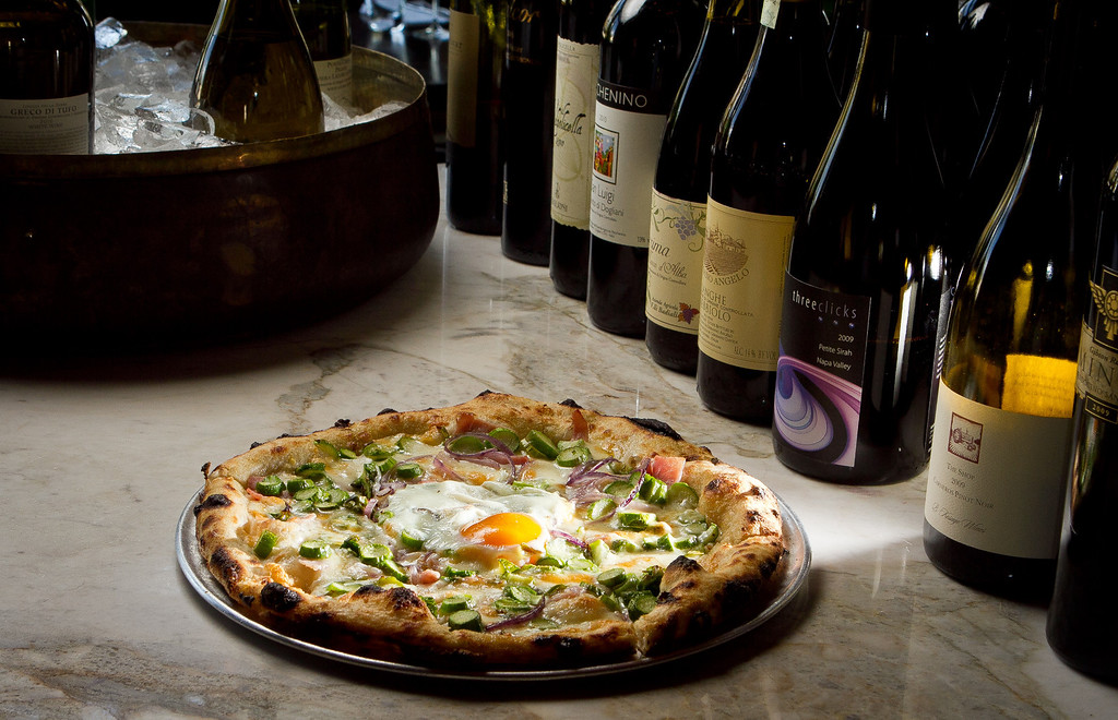 The Asparagus Pizza with Farm Egg in the wood fired oven at  Redd Wood Restaurant in Yountville, Calif., is seen on April 6th, 2012.