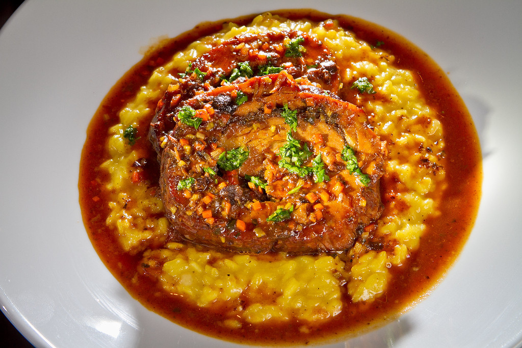 The Veal Breast with Saffron Risotto at Redd Wood Restaurant in Yountville, Calif. is seen on April 6th, 2012.