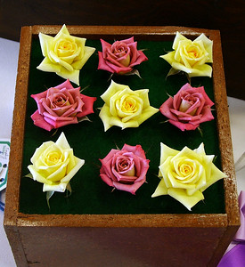 American Box Challenge Class with miniature roses, yellow 'June Laver' and mauve 'Incognito'