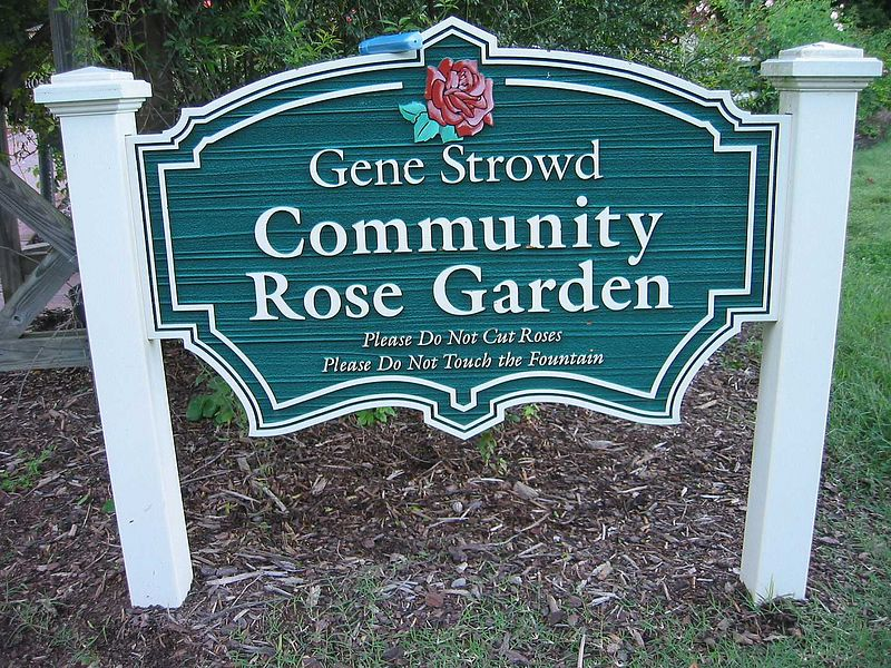 Gene Strowd Community Rose Garden sign