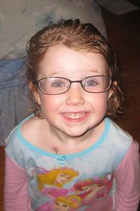 Anna wearing Matt's old glasses