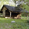 Corn crib at the Walker Sisters. This trip today was Kenny's first visit!<br /> GSMNP May 08