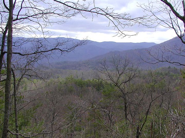 Gorgeous view of blue velvet mountains in the distance<br /> from Chestnut Top Trail<br /> GSMNP TN 2008