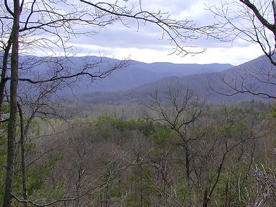 Gorgeous view of blue velvet mountains in the distance from Chestnut Top Trail GSMNP TN 2008