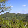 If you look closely you can see the road winding onward around the mountain from this overlook.  LOTS of cars today. <br /> Foothills Parkway May 08