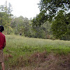 Kenny checks out a wildlife clearing.  He can tell you about the grasses planted here. It was mostly sweet clover. It smelled wonderful. Was soft to touch and walk on, and was loaded with honeybees buzzing.  TWRA plants it for game.