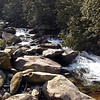 Looking upstream from the bent in the middle bridge on Porters Creek Trail.<br /> GSMNP TN 4/09