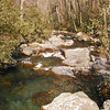 Looking downstream at the large boulders and clear pools of water of Porters Creek<br /> GSMNP TN 4/09