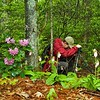 KT amidst Catawba Rhododendron and pink lady slippers in Panthertown NC 5/09<br /> Photo courtesy of Rich Stevenson