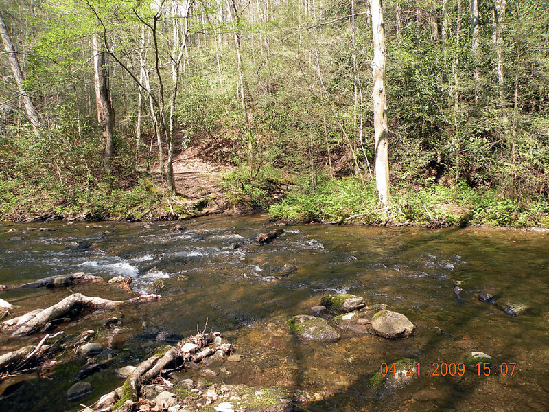 The crossing of Hesse Creek to the campsite. I've forded here from this vantage point and I'm looking back across to where we came from.  My first trip I rock hopped this stream easily.  Today we had to don our tevas and wade!