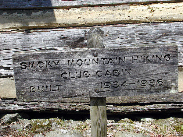 Smoky Mountain Hiking Club Cabin sign giving the dates it was worked on.<br /> GSMNP TN 4/09