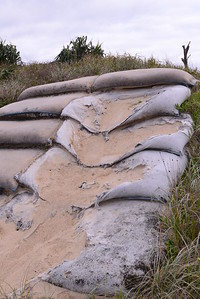 Sand bag steps in state of dis repair.  These sand bags have actually helped to aggregate sand.  They were installed with the help of prison labour a few years back.  The bags were broken by a 4 wd vehicle hooning upwards.  Could we ask the CVC or National Parks to replace the broken ones.  Safety hazard.