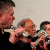 Flutists from Harmonie Transverse, warm up for a concert at the Parish Center for the Arts in Westford, L-R, Marty Tentor, Serge Paul-Emile and Eduardo Gomez. SUN/David H. Brow