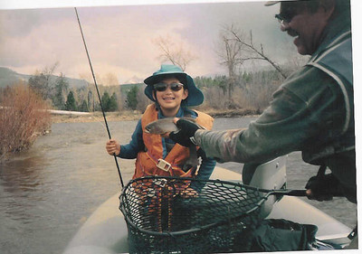 April 25 - Bitterroot, Rachel is Irv's daughter. She began fishing at an early age. This photo is from at least 12 years ago. We scanned it in.