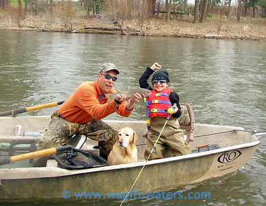 Powell and Nico - This is Irv's grandson, Rachel's nephew. He is learning to fish!