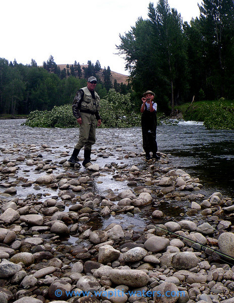 Jeff and  his son, Jamie, with his first trout from the Bitterroot.