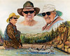 Father on the right, son in the middle, Jack on the left. Dr. Oldstone loves to share fishing with his son, Bo. Bo had this painting done as a 2009 Christmas gift for his father. It is such a nice memory and will be enjoyed for many years to come with this picture.