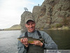 Dixon with a colorful brown trout on the Missouri River in Montana.