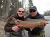 March 28, Bitterroot, Joe Wenaweser caught this Bitterroot Rainbow - Eric Ederer is holding the fish