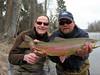 March 28, Bitterroot, Joe Wenaweser caught this Bitterroot Rainbow - Eric Ederer is holding the fish