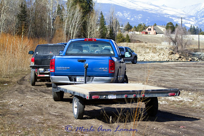 Long side of parking lot at Veteran's bridge north of Hamilton, MT.