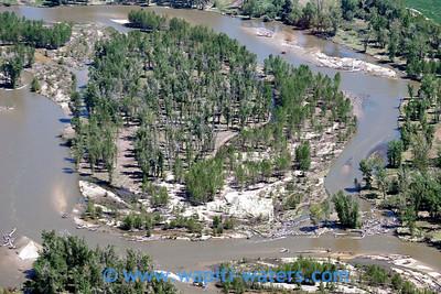 A closer view of a log jam