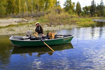 Jack and Freda getting in the Koffler drift boat.
