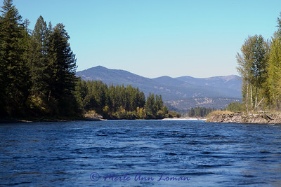 Clark Fork river on a sunny fall day in September