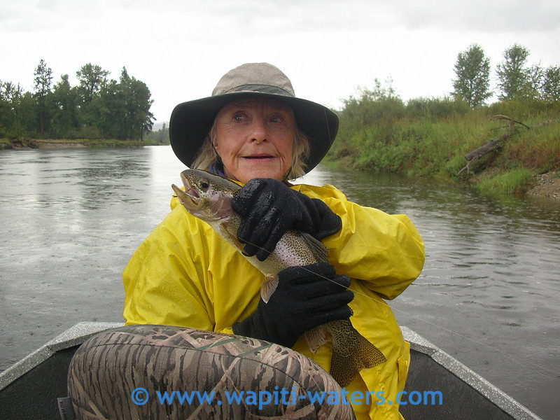 Missy DeYoung and her rainbow trout - Jack Mauer guiding