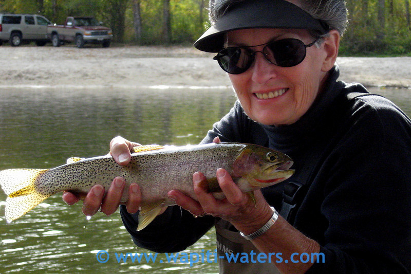 Naomi Shields with a cutthroat trout on the Bitterroot River near Florence.