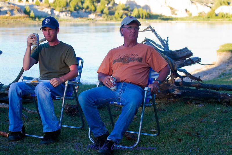 Ron and Chris Gustine chilling out at camp.