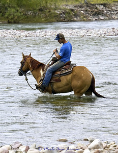 Heading across the river to retrieve the other horse. Deeper, but slower current. He is watching as the river gets closer to his boot.