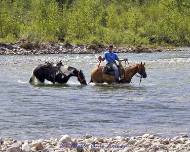 Ciaran is laughing at his horse. The water is pretty deep here, but the current fairly slow.