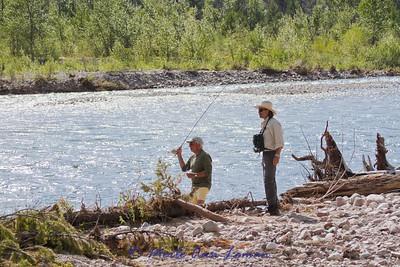 Wade fishing near camp.