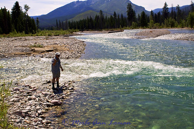 Super bright, hot day on August 4. This is the confluence of the White River and South Fork of the Flathead just south of our camp. You see Sleeping Giant in the background.