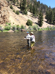 Jack coaching Tom into fish on the Big Hole River
