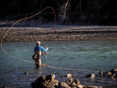 Spey Casting for Winter Steelhead on the Hoh River, near Forks, Washington, 1/1/2016
