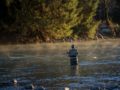 Spey Casting, Hoh River, 1/1/2016