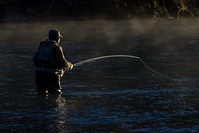 Steelhead Fly Fisherman, Hoh River, 1/1/2016