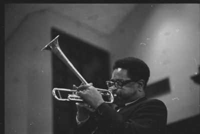 "USA. Georgia. Atlanta. Dizzy GILLESPIE, the jazz trumpet player, playing spiritual ""Nobody Knows The Trouble I Feel"" in the place of the benediction at the Ebenezer Babtist Church during the funeral for Martin Luther KING Jr."