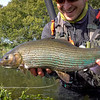 Lewis with a monster chalk stream grayling close to 4lbs
