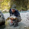 Rok holds a fine Adriatic grayling from the Soca river