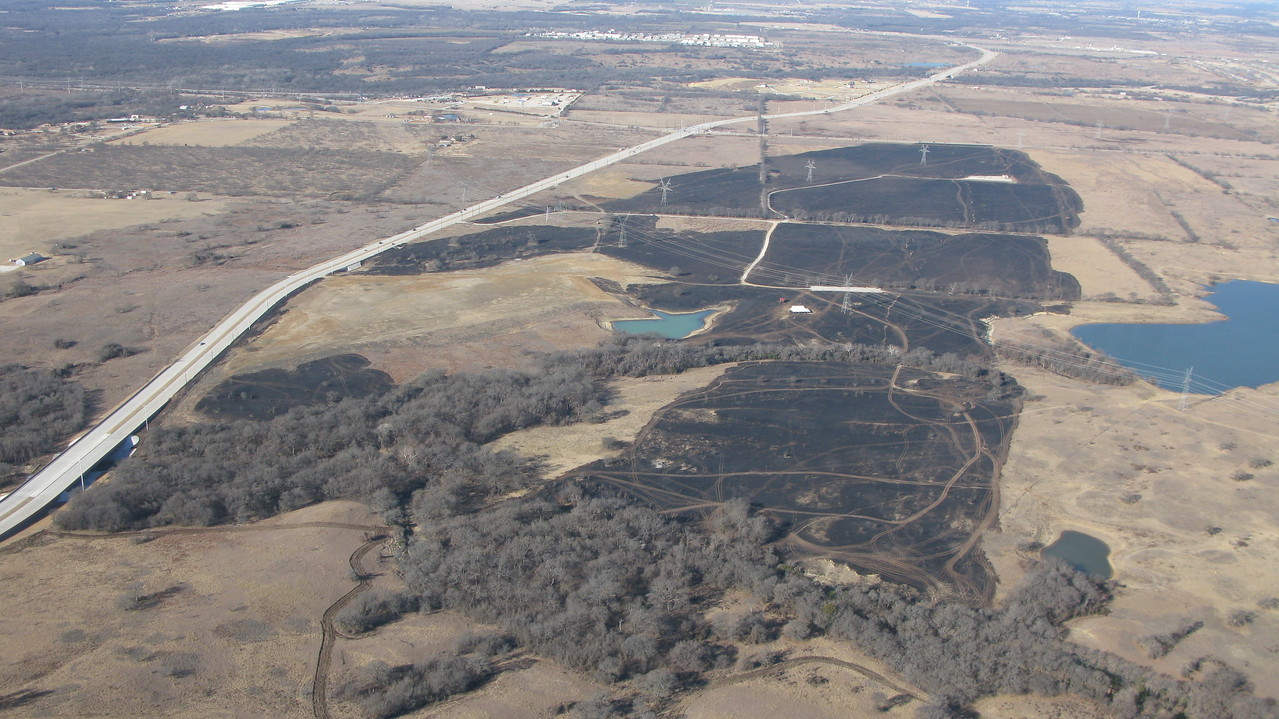 The 1/22/18 Flower Mound grass fire from the RV.  52F top center.