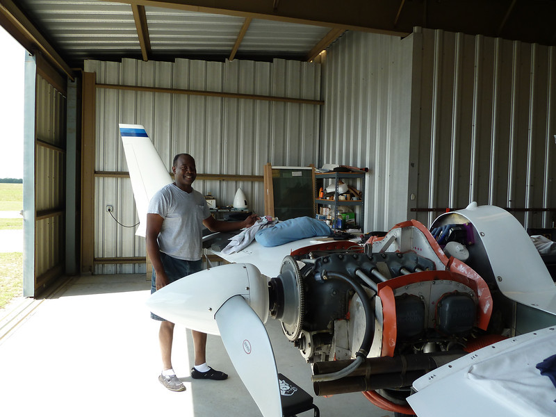 Ken Guy, friend and fellow Ez builder/flyer making some mods to his Long EZ.