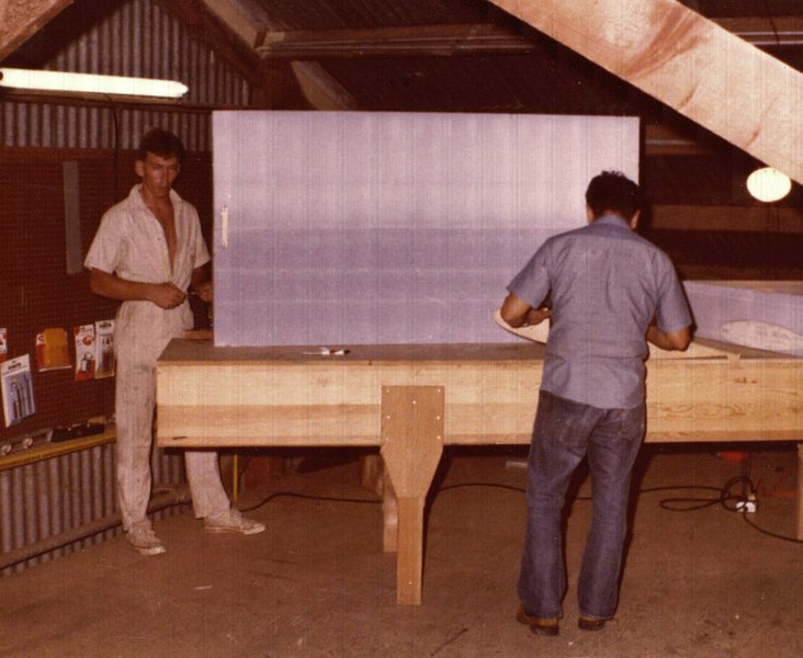 Started building my Eze in Kaneohe, Hawaii 1997.All building began with (hot wiring) shaping blocks of Foam. This block of foam would become part of the right wing.